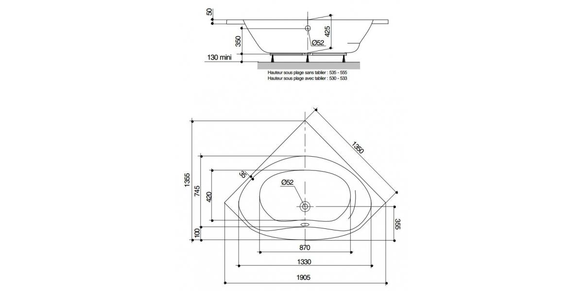 Baignoire d 39 angle nalia 140 cm avec r flex for Baignoire dimension 140