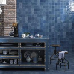 Carrelage mur effet zellige bleu 13*13 cm