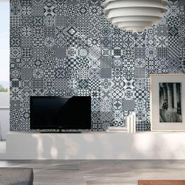 Carrelage sol effet carreaux de ciment Taco Tradition black 16,5x16,5 cm