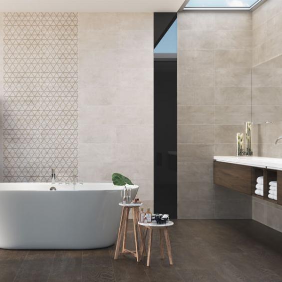 Faïence salle de bain tendance Yoga relief crema 25*50