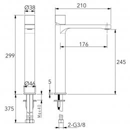 Mitigeur lavabo haut Industrial chrome 1