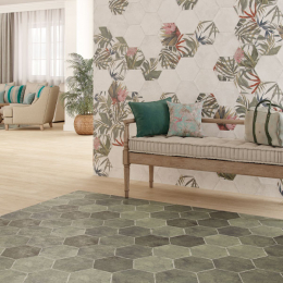 Carrelage sol et mur hexagonal Jungle blanco 23*27 cm
